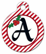 CHRISTMAS STRIPES MONOGRAM A -Z - Custom Personalized Pet ID Tag for Dog or Cat