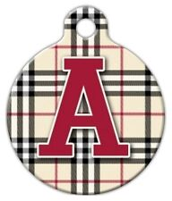 PLAID MONOGRAM A -Z - Custom Personalized Pet ID Tag for Dog and Cat Collars