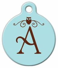 OWL MONOGRAM A -Z - Custom Personalized Pet ID Tag for Dog and Cat Collars