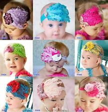 Lot Baby vintage Feather Pad prop headband flower hair Accessories Wedding Party