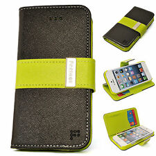 APPLE iPhone 5 5g Saffiano Leather Wallet BLACK LIME Case Cover Flip Card Stand