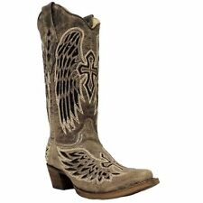 Corral Womens Brown/Black Wing and Cross Sequence Boots A1241 NIB