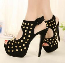 Vogue BLACK Sexy Studded Platform High Heels Lady Shoes Stiletto Peep-toe Pumps