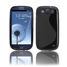 Black TPU S shape Soft Gel Cover Case Samsung Galaxy S3 SIII i9300