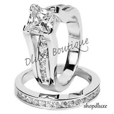 Women's .925 Sterling Silver Princess Cut CZ Wedding Ring Set Size 5,6,7,8,9,10