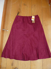 MARKS AND SPENCERS RED WINE SUEDETTE FLIPPY MIDI SKIRT 10 BNWT
