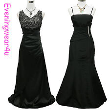Cherlone Satin Black Ball Bridesmaid Prom Long Formal Wedding/Evening Gown Dress