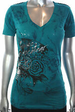 NWT AFFLICTION womens FEMME PROVOCATEUR ss Vneck WHIP STITCH graphic Tee *SMALL
