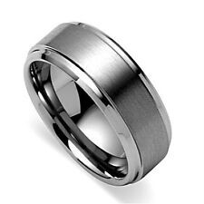 Men's Tungsten Carbide 8MM Ring-High Shine Edges & Brushed Centre