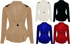 LADIES WOMEN SPIKE STUDDED PEPLUM FRILL TAIL BACK SEXY JACKET/TOP/ BLAZER/ COAT