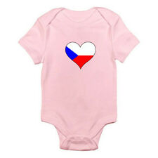 CZECH REPUBLICAN FLAG HEART SHAPE - Europe / Novelty Themed Baby Grow / Romper