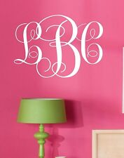 Monogram Initials Vinyl Wall Decal Lettering Words Personalized Graphics Preppy