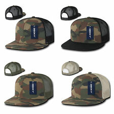 NEW CAMOUFLAGE 6 PANEL FLAT BILL TRUCKER HAT SNAPBACK CAP MANY COLORS AVAILABLE