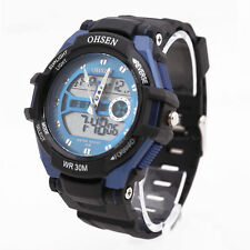 OHSEN Unisex Waterproof Digital LCD Alarm Date Mens Military Sport Analog Watch