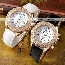 Fashion Dress Bling Crystal 2 Decoration Button Lady Women Bracelet Hand Watch