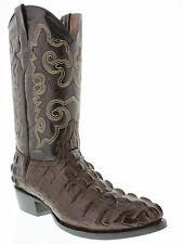 Men's crocodile alligator exotic brown leather cowboy boots biker tail round toe