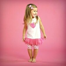 NWT Mud Pie SWEET HEARTS Outfit Tunic Bike Shorts 9 12 18 M