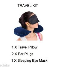 3 in1 Travel Set Inflatable Neck Air Cushion Pillow & eye mask & 2 Ear Plug