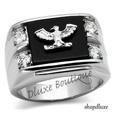 Men's Stainless Steel 316L AAA CZ US American Eagle Military Ring Size 8-14