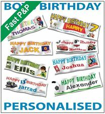 """Boys Personalised Party Banner 36"""" x 12"""" BUY 1 GET 1 FREE Offer Now On"""