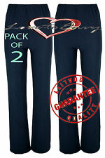 Ladies Ribbed STRETCH Bootleg Trousers (2 PAIRS PACK) In NAVY Size 10-24