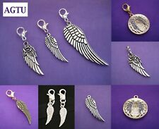 Pick Your Angel Wing Charm ~ Clip On Silver Angel Wing Charms Spiritual Wings