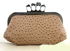 Woman Evening Clutch Bag Ostrich Print Black Satin Skull Ring Knuckle Duster