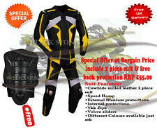 yellow motorbike Leather jacket trouser any size color free back protection