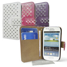 Diamond  Leather PURSE  WALLET Case Cover skin for Samsung Galaxy S3 Mini  i8190