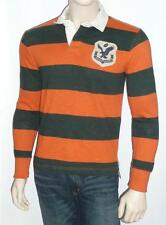 American Eagle Outfitters Orange Black Long Sleeve Rugby Stripe Polo Shirt NWT