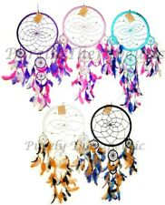 ~BEADED WEB DREAM CATCHER~22cm Web~Multi Coloured Feathers~Wall Hanging~