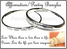 ~AFFIRMATION POETRY BRACELET BANGLE~Silver~Nickel Free~Love~Dream~
