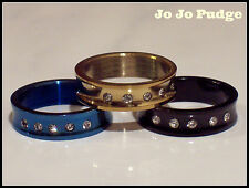 Black, Blue or Gold - 5 CZ's -  Stainless Steel Ring - Unisex - U83