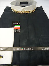 Mens Black & Ivory w Gold Chain Nehru Banded Collarless Dress Shirt DS3007C