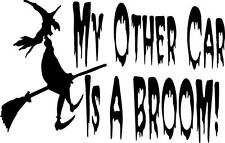 my other car is a broom witch flying truck auto cat  VINYL DECAL STICKER 236-1 +