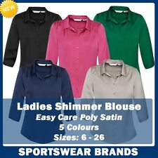 Ladies Shimmer Blouse Shirt Business Corporate Size 6-26 Semi Fitted New S313LT