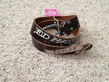NWT Ed Hardy Black Distressed Leather Belt Size Small