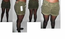 polo Ralph Lauren women corduroy stud roll up green/khaki short hotpants size 14
