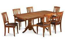 9PC OVAL DINETTE DINING SET -TABLE AND 6 UPHOLSTERED SEAT CHAIRS IN BROWN FINISH