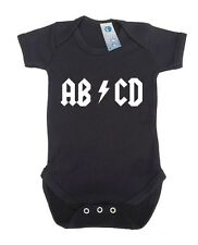 ABCD BABY GROW - gift present new born vest suit acdc funny slogan clothes s