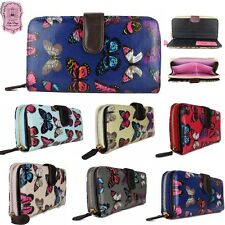 DESIGNER LADIES OILCLOTH BUTTERFLY LARGE FOLDED ZIP WALLET CLUTCH PURSE HAND BAG