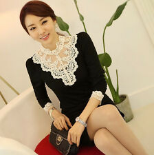 New Women's Vintage Fitted Lace Tops Button Down Shirt Embroidery Blouse--Black