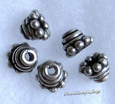 New  Bali Handcrafted .925 Sterling Silver 6mm Bead Cap 10 & 20 pcs
