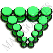 "V107 Fake Cheaters Illusion Faux Ear Plugs 4G 2G 0G 00G 7/16"" 1/2"" Neon Green"