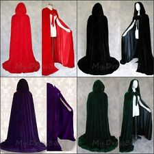 New Halloween Hooded Cloak Wedding Velvet Cape Wicca SCA Stock Size S M L XL XXL