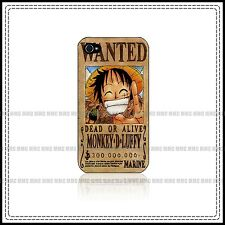 One Piece Luffy Wanted Anime Made for Iphone 4 / 4s / 5 Black  White Hard Case