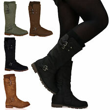 D3Y WOMENS LADIES SOCK FASHION BUCKLE ICE BIKER TRENDY FLAT MID CALF BOOTS SHOES