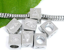 Silver A to Z Alphabet Letter Initial Spacer Beads Fit European Charm Bracelets