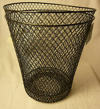 "WIRE MESH WASTE BASKETS 10"" DIA BLACK/WHITE  GARBAGE CAN WASTE PAPER"