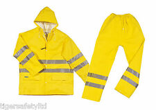 Delta Plus Panoply Hi Visibility Yellow PVC Waterproof Rainsuit Hi Viz Jacket